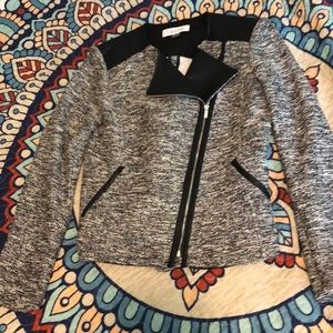 Calvin Klein tweed and faux leather blazer. NWOT.